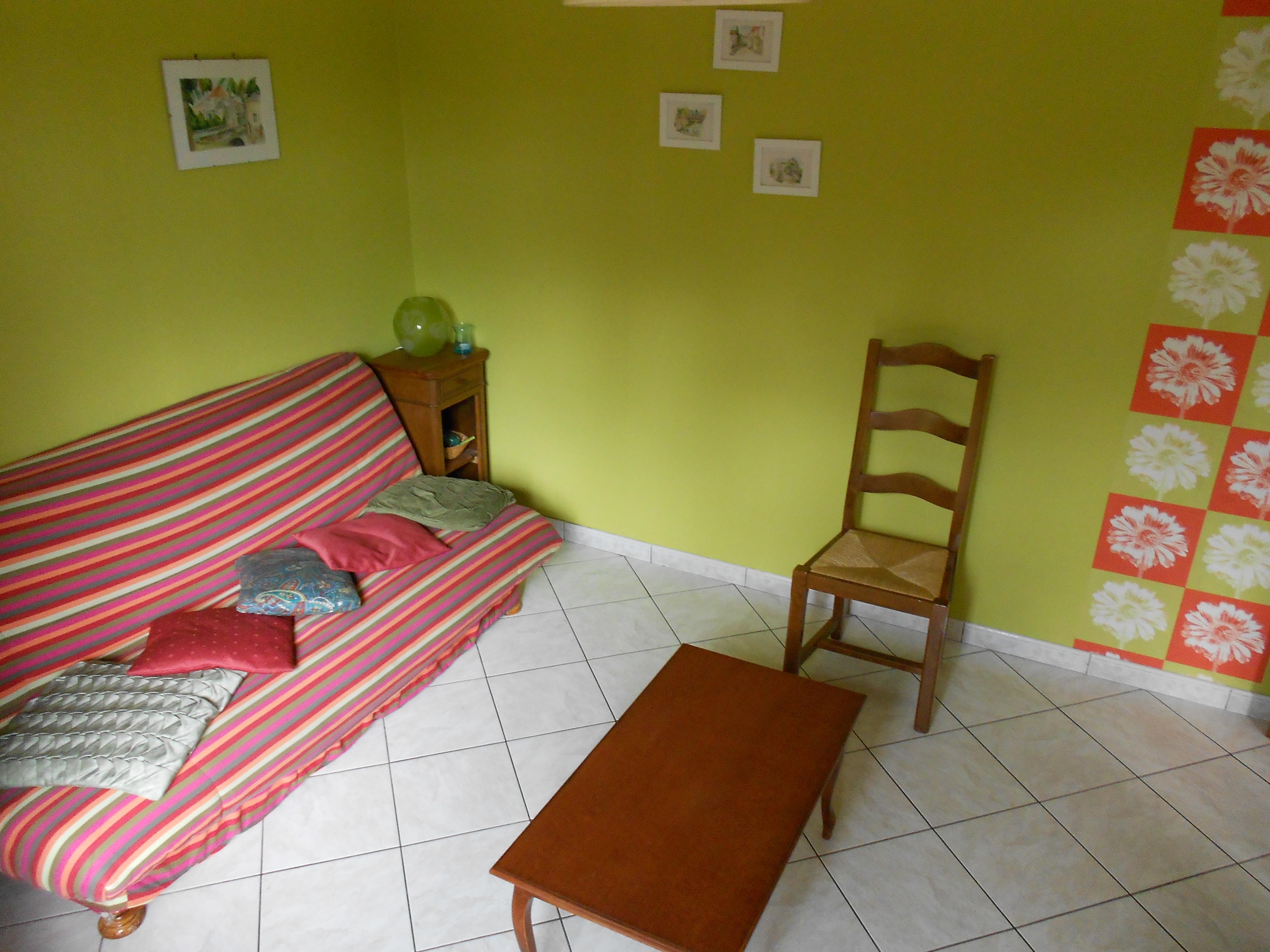 Salon télé avec canapé clic-clac (un lit deux places)